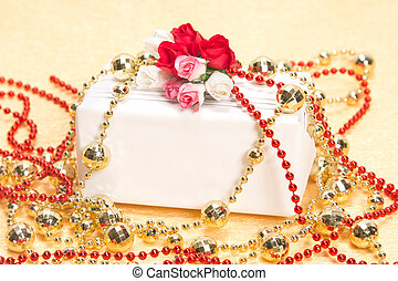 Gift - White gift box with paper flowers and beads