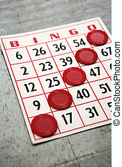 Winning bingo card - Red bingo card with winning chips