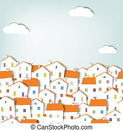 panorama town seamless vector pattern