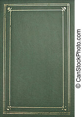 Photo album cover-green leather with gold trim