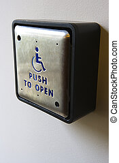 Handicap push to open button.l - Metal door entrance button...