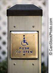 Button for handicapped people - Metal door entrance button...