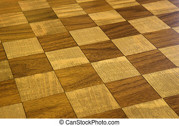 Checkered wooden floor. - Brown and tan checkered wooden...