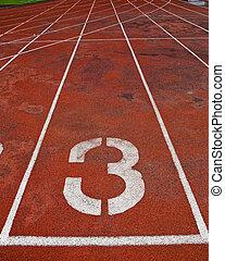 carril, atletismo, pista, número, 3