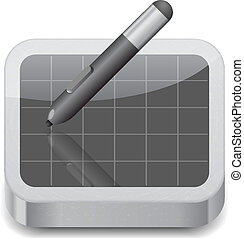 Icon for pen tablet White background Vector saved as eps-10,...