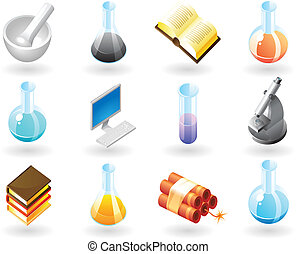 Isometric-style icons for chemistry - High detailed...