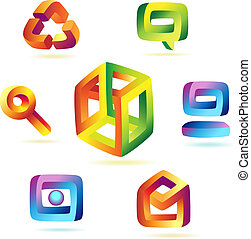 Magic icons - Paradoxical icons of iridescent colors. Vector...