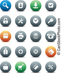 Round buttons for internet and shopping