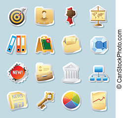 Sticker icons for business and finance - Sticker button set....