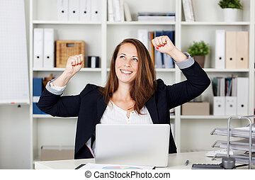 Female expressing after achieving something - Photograph of...