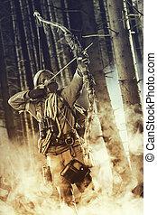 Um, macho, arco, caçador, Desgastar, gás,...