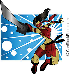 Sexy Ninja Woman - An editable vector cartoon of a beautiful...