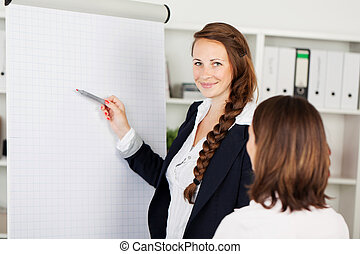 Smiling businesswoman pointing to a flip chart - Smiling...