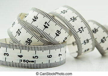 Measure tape or centimeter isolated over white
