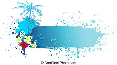 Grunge summer banner - Grunge blue banner with palms and...
