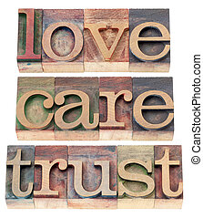 trust, love, respect in wood type - trust, love, respect...