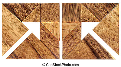 tangram arrows - two abstract pictures of an arrow built...