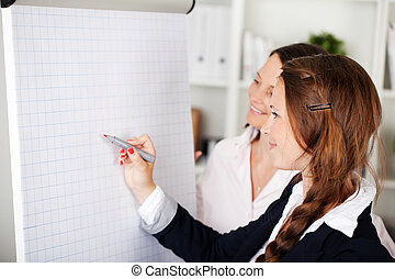 Business colleagues attending a seminar - Two attractive...