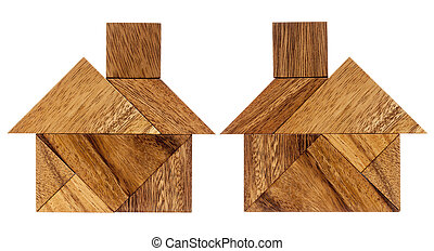 tangram house abstract - two abstract pictures of a house...