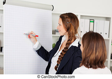 Businesswoman using a flip chart - Attractive young...