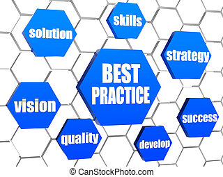 best practice and business concept words in blue hexagons -...