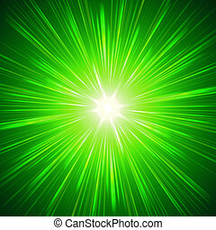 shining green lights - green star with shining light rays,...