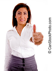 portrait of executive with thumbs up on an isolated white...