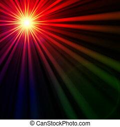 star with rainbow light rays, lens flare