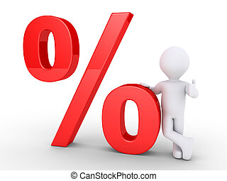 Person leaning on a percent symbol - 3d person is leaning on...