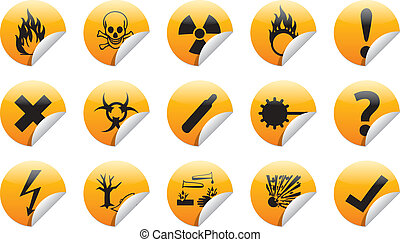 Danger sticker icon - Isolated vector Danger sign collection...