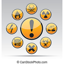Circle Danger sign collection - Isolated vector Circle...
