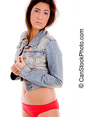 young woman wearing jacke - side view of sexy woman holding...