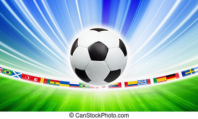 Soccer ball, flags - Abstract sports background - soccer...
