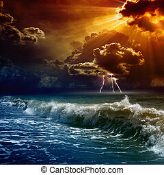 Dramatic sunset - Nature force background - lightnings in...