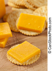 Cheese and Cracker Appetizer against a background