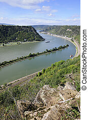 Rhine River, view from St Goarshausen / Loreley Rock,...