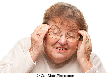 Senior Woman with Aching Head Isolated on a White...