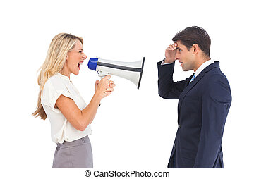 Businesswoman shouting at a business