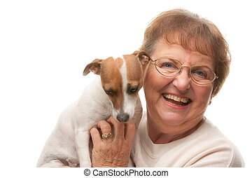Happy Attractive Senior Woman with Puppy Isolated on a White...