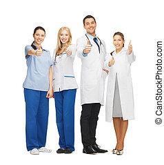 gruppo, dottori, giovane, squadra, professionale, o