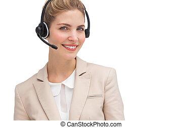 Smiling call center agent