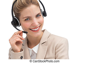 Smiling customer service operator with headset