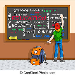 Education concept in word-cloud - Illustration of schoolboy...