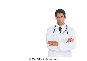 Confident doctor with arms crossed