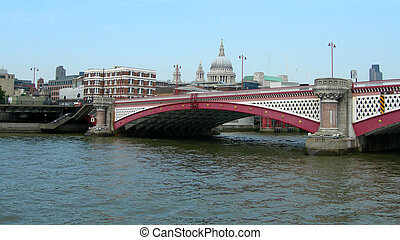 Blackfriars Bridge London - St Paul Cathedral and...