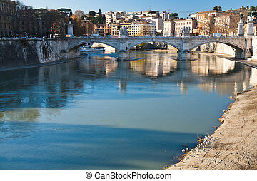bridge on Tiber river in Rome