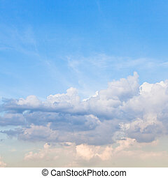 light stratus clouds in blue sky in spring evening