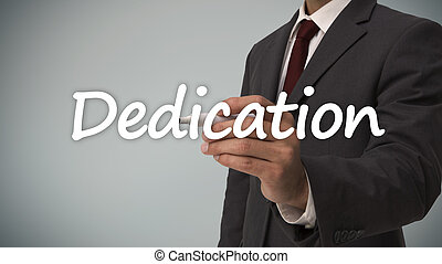 Businessman writing dedication against grey background