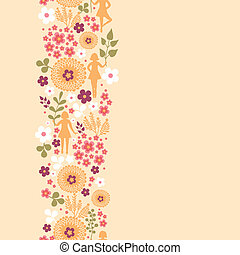 Girls among flowers vertical seamless pattern background...