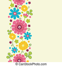 Colorful kimono flowers vertical seamless pattern border -...